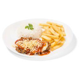Parmegiana santa esquina com pure ou fritas e arroz