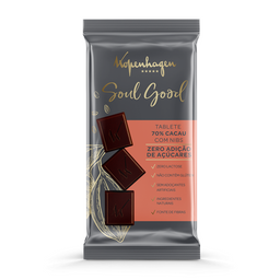 Tablete 70% Cacau com Nibs Soul Good - 30g