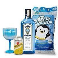 Gin Bombay Saphire 750 mL + 4 Água Tônica + 2 Copos + 1 Gelo
