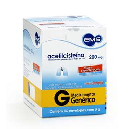 Acetilcisteína 200 mg Envelope Genérico Ems 16 Comprimidos