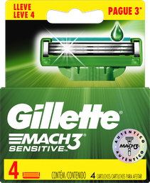Lâminas de Barbear Gillette Carga Mach3 Sensitive 4 Unid