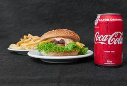 121 - Hamburguer com Queijo + Batata Frita + Coca-Cola Original