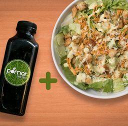 Salada Caesar 500g + Suco de Guaraná c/ Limão 300ml