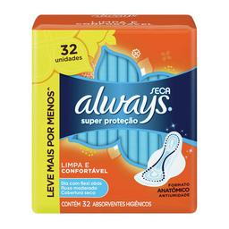 Absorvente Always Super Proteção Seca Com Abas 32 Und