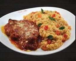 Parmegiana de Carne com Risotto Piemontese