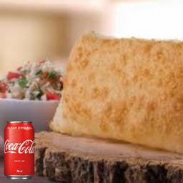 1 Pastel tradicional + 1 coca cola lata 350ml