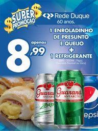 Enroladinho de Presunto e Queijo + Guaraná 330 mL