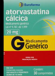 Leve 3 Pague 2 Atorvastatina Genérico Calcica Eurofarma 20Mg 30