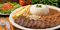 Bife Grelhado, Arroz, Feijão, Farofa e Legumes