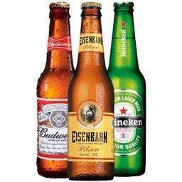 Cerveja long neck  stella, budweiser