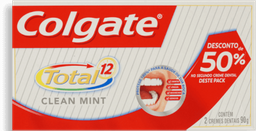 Creme Dental Colgate Total 12 Clean Mint 90 g 2 Und