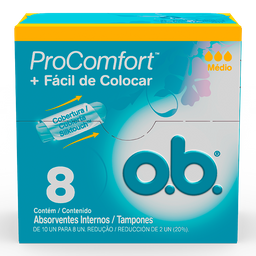 Absorvente Ob Pró Comfort Médio 8 Und