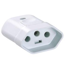 Plug Femea 3P 10A 250V Branco Tramontina - Cód.3678644