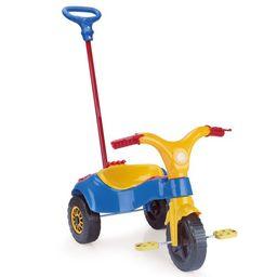 Triciclo Infantil Empurrador Homeplay Praia Campo Azul E Amarelo
