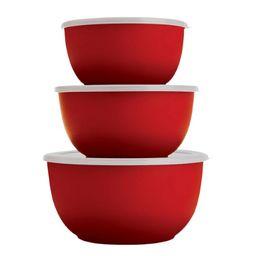 Conjunto Bowls Plástico Carrefour Vermelho 3 Peças HO200279
