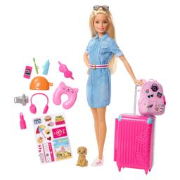 Boneca Barbie Barbie Viajante Com Pet E Adesivos Mattel
