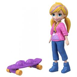 Mini Boneca Com Acessórios Polly Pocket Polly Com Skate Mattel