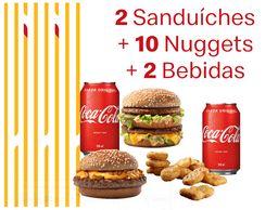 2 Sanduíches + 10 Nuggets + 2 Bebidas