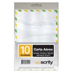 Envelope Carta Scrity Aéreo Brc 63 g 114X162Mm 10 Und