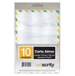 Envelope Carta Scrity Aéreo Brc 63 g 114X162Mm 10 Und