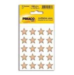 Etiqueta Adv Pimaco Estrela 18,79 Mm Ouro 100 Und
