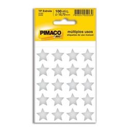 Etiqueta Adv Pimaco Estrela 18,79 Mm Prata 100 Und