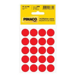 Etiqueta Adv Pimaco Redonda 19Mm Vermelha 200 Und