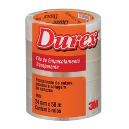 Fita Empacotamento 3M Transparente Durex 24Mm X 50M 5 Und