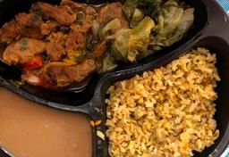 Picadinho de carne, feijão, chicória e arroz integral temperado