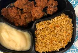 Almondega de carne, purê batata e arroz integral temperado