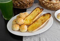 Pão na chapa + Suco Natural + 100g de Pão de Queijo Tradicional