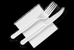 Garfo e faca descartáveis