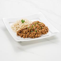 Patinho moído com arroz integral