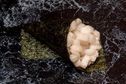 Temaki peixe branco (corte em cubos)