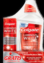 Enxaguante Bucal Colgate Luminous White 500ml gratis Crem Dent
