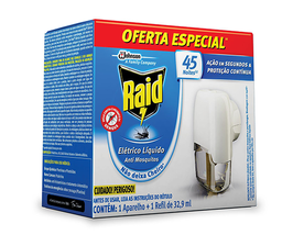 Repelente Elétrico Raid Líquido 45 Noites + Refil