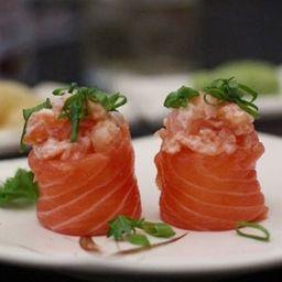 Joe salmão com cebolinha