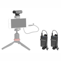 Microfone Lapela Duplo Sem Fio Para Smartp E Câm Boya By-Wm4