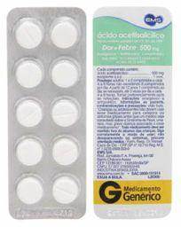 Ácido Acetilsalicilico 500 mg Ems Gen 10 Comprimidos