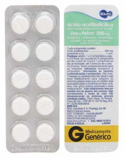 Compre 2 Ganhe 15% Ácido Acetilsalicilico 500 mg Ems Gen 10 Comp