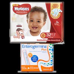 Fralda Huggies Supreme Care G 32 U + Enterogermina Plus 5mL