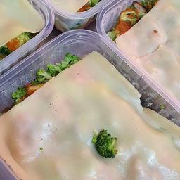 Lasanha de berinjela com brócolis