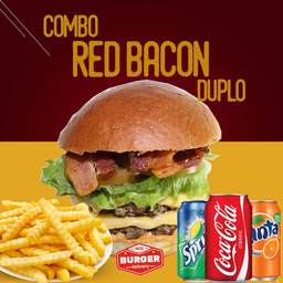 Combo red burger duplo