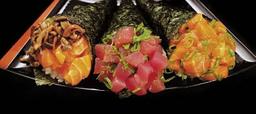 3 makis - 1 salmão, 1 atum e 1 salmão com shimeji