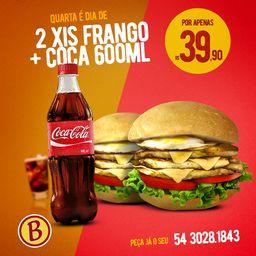 Combo Dois Xis Frango + Coca Cola 600ml