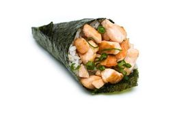 Temaki hot filadélfia temaki de salmão com cream cheese e ceboli