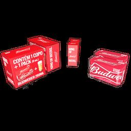 Kit Cerveja Budweiser 269 ml Lata 8 unidades + 2 Copos
