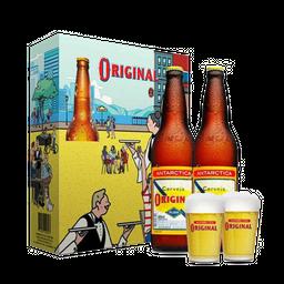 Kit Cerveja Original 600 ml Garrafa 2 unidades + 2 Copos