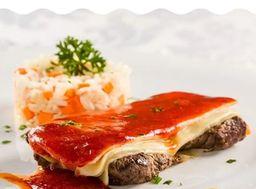 Escalope à Parmeggiana com Arroz com Cenoura