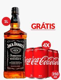 Combo Jack Daniel's 1 L + 4 Latas Coca Cola 350 mL